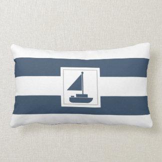 Navy and White Nautical Stripe with Sailboat Lumbar Cushion