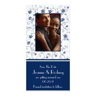 Navy and White Photo Save The Date Card
