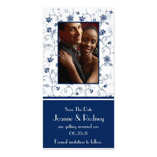 Navy and White Photo Save The Date Photo Cards