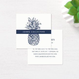 Navy and White Pineapple Square Business Card