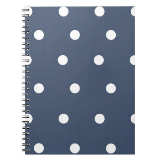 Navy and White Polka Dot Spiral Notebook