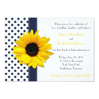 "Navy and White Polka Dot Wedding Invitation 5"" X 7"" Invitation Card"