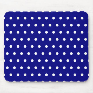 Navy and White Polka Dots Mouse Mat
