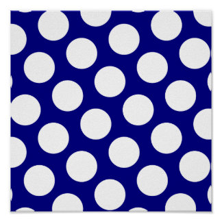 Navy and White Polka Dots Poster