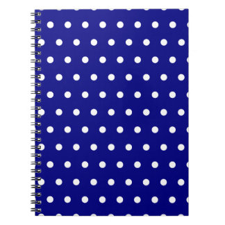 Navy and White Polka Dots Spiral Notebook