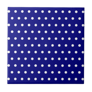 Navy and White Polka Dots Tile