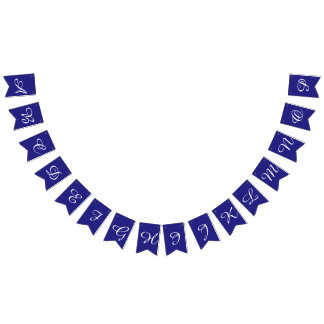 Navy and White Script Letters Custom Bunting