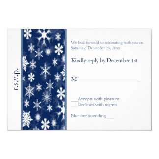 Navy and White Snowflakes Wedding Reply Card