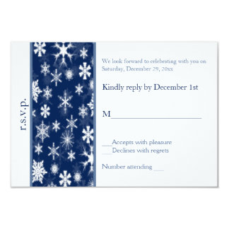 Navy and White Snowflakes Wedding Reply Card Personalized Invitation