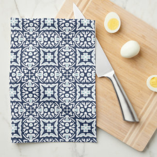 Navy and White Spanish Tile Pattern Tea Towel