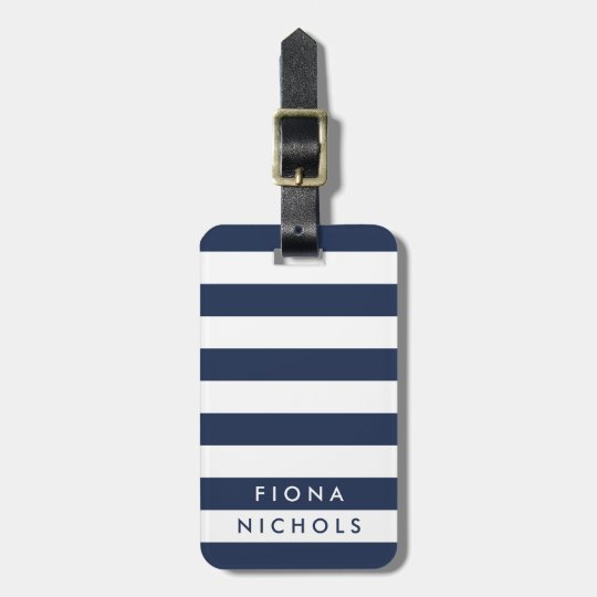 Navy and White Stripe Personalised Luggage Tag