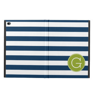 Navy and White Striped Pattern Green Monogram