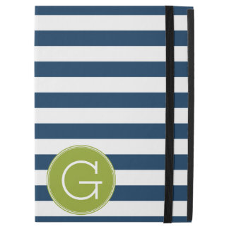 "Navy and White Striped Pattern Green Monogram iPad Pro 12.9"" Case"