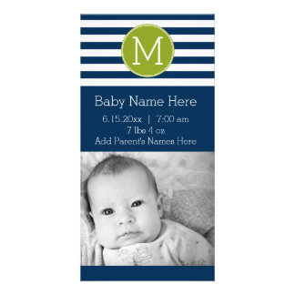 Navy and White Striped Pattern Green Monogram Personalised Photo Card