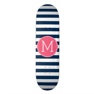 Navy and White Striped Pattern Hot Pink Monogram Custom Skate Board