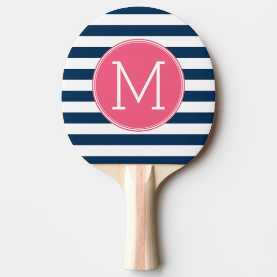 Navy and White Striped Pattern Hot Pink Monogram