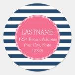 Navy and White Striped Pattern Hot Pink Monogram Round Sticker