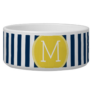 Navy and White Striped Pattern Yellow Monogram
