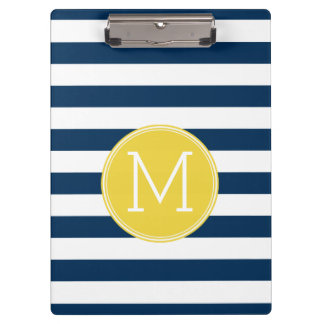 Navy and White Striped Pattern Yellow Monogram Clipboard