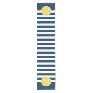 Navy and White Striped Pattern Yellow Monogram Short Table Runner