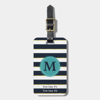 Navy and White Stripes, Faux Gold Accent and Mint Luggage Tag