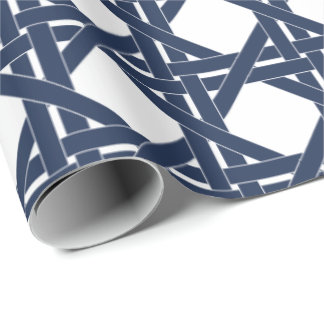 Navy and White Summer Rattan Basketweave Pattern Wrapping Paper
