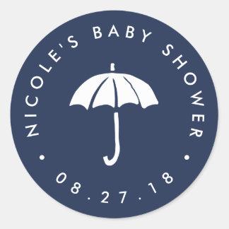 Navy and White Umbrella Baby Shower Classic Round Sticker