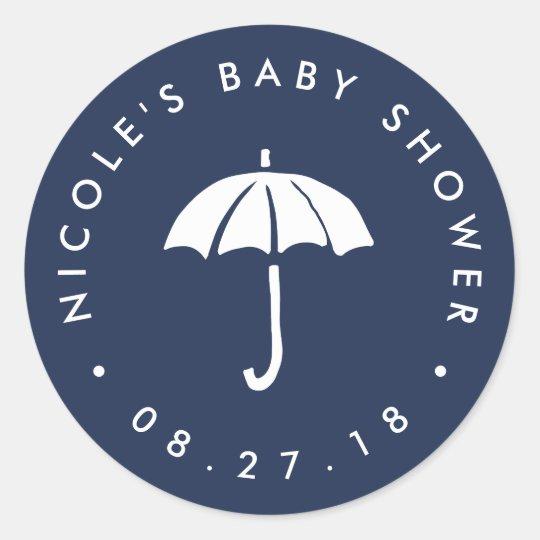 Navy and White Umbrella Baby Shower Classic Round