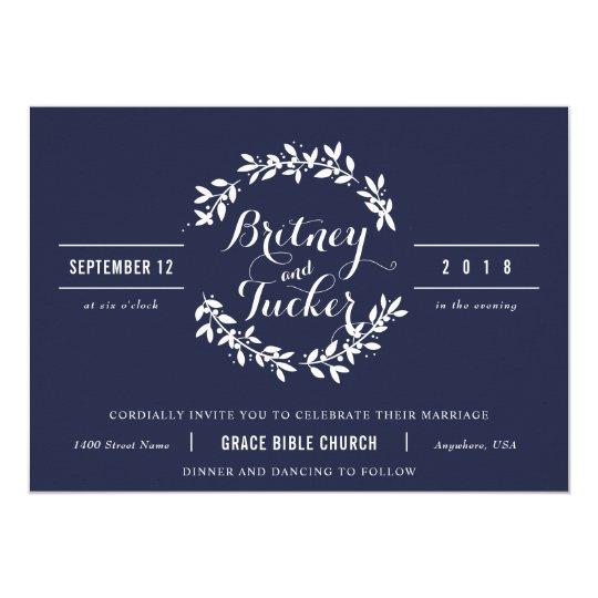 Navy and White Vintage Wreath Wedding Invitation