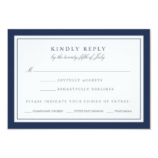 Navy and White Wedding RSVP Card w/ Meal Choice 9 Cm X 13 Cm Invitation Card