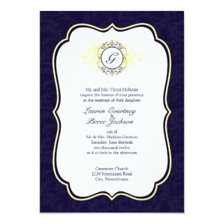 Navy and Yellow Filigree Frame Wedding Invitation