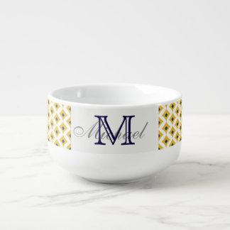 Navy and Yellow Geometric Diamond Soup Mug