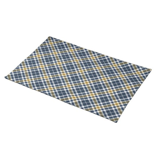 Navy and Yellow Gold Sporty Plaid Place Mats
