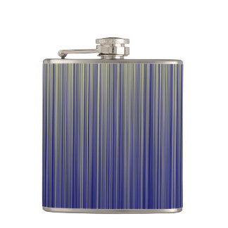 Navy and Yellow Gradient Line Pattern Hip Flask