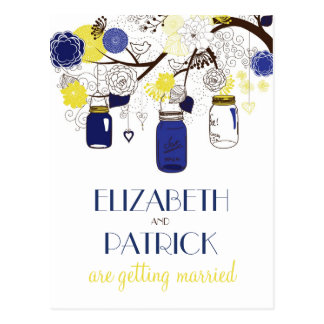Navy and Yellow Mason Jars Save the Date Postcard