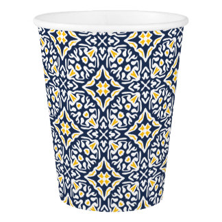 Navy and Yellow Mediterranean Tile Pattern Paper Cup