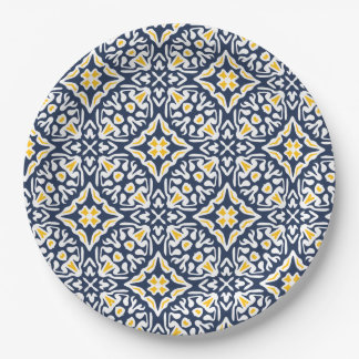 Navy and Yellow Mediterranean Tile Pattern Paper Plate