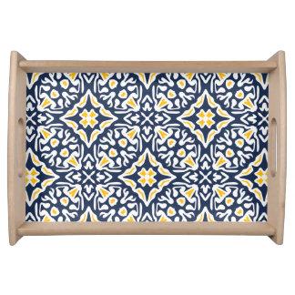 Navy and Yellow Mediterranean Tile Pattern Serving Platter
