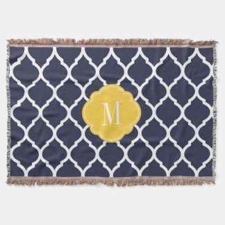 Navy and Yellow Moroccan Quatrefoil Monogram Throw Blanket