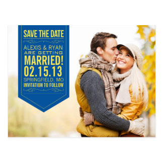 Navy and Yellow Save The Date Post Card