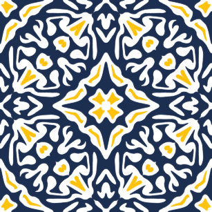 Navy And Yellow Spanish Tile Pattern Shower Curtain