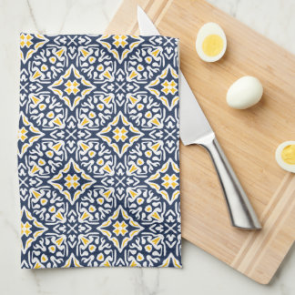 Navy and Yellow Spanish Tile Pattern Tea Towel