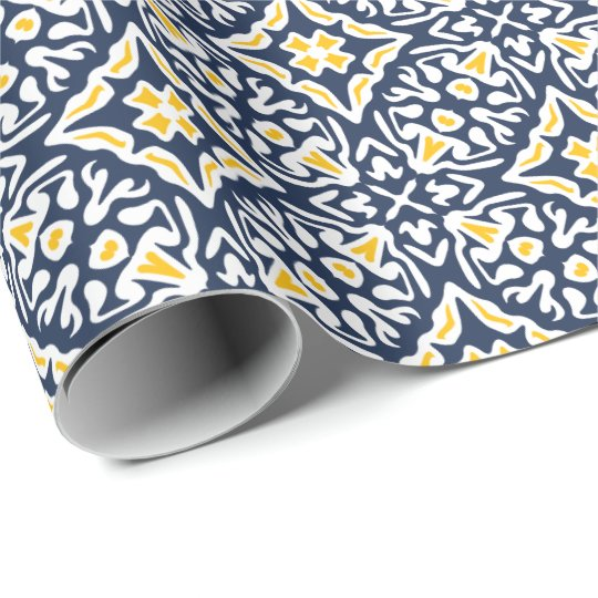 Navy and Yellow Spanish Tile Pattern Wrapping Paper