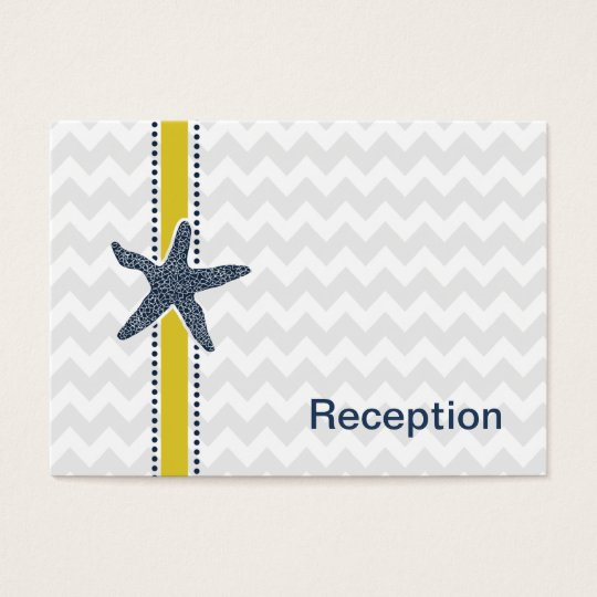 Navy and Yellow Starfish Beach Wedding Stationery Business Card