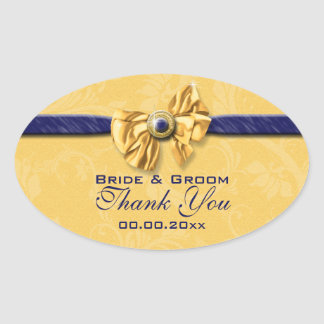 """navy and yellow wedding """"thank you"""" oval stickers"""