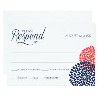 Navy + *ANY COLOR* Chrysanthemum RSVP Card