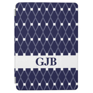 Navy Argyle Lattice with monogram iPad Air Cover