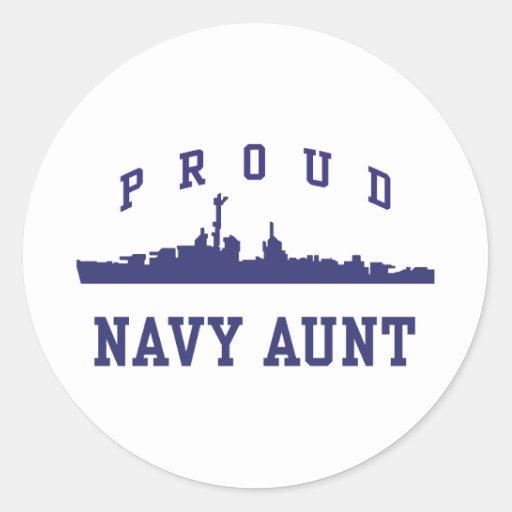 Navy Aunt Classic Round Sticker