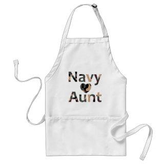 Navy Aunt Heart Camo Apron