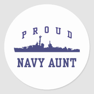 Navy Aunt Round Sticker